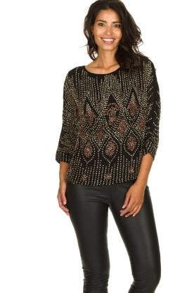 Antik Batik |  Embellished top Emilie | black