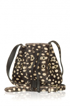 Antik Batik | Leren mini bucket bag West | zwart