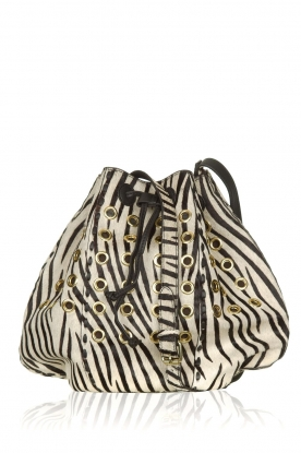 Antik Batik | Leren bucket bag met zebraprint West | dierenprint