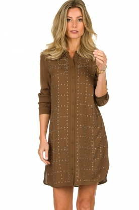 Patrizia Pepe | Dress with swarovski stones Lidia | brown