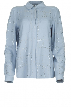 Patrizia Pepe |  Blouse with rhinestones Resy | blue