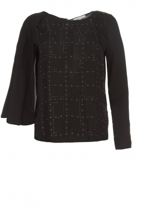 Patrizia Pepe |  Blouse with rhinestones Lotte | black