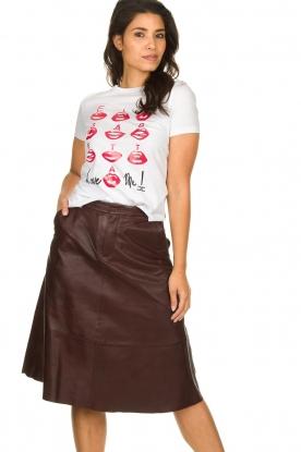 Set    Leather midi skirt Yvette   brown