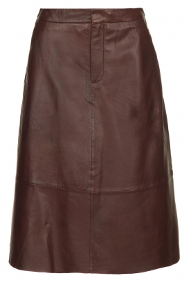 Set |  Leather midi skirt Yvette | brown