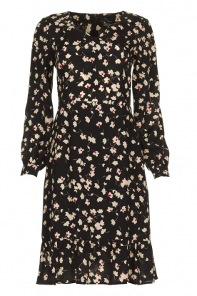 Set |  Dress with floral print Hip | black