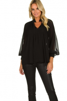 Set |  Plisse blouse Jaq | black