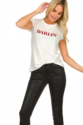 Set |  Cotton T-shirt with text print Darlin | white