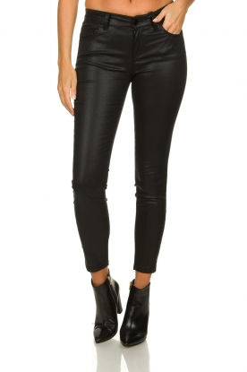 Set |  Coated skinny jeans Mena | black