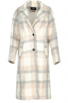 Set |  Checkered coat Katie | off-white