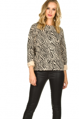 Set |  Zebra printed sweatshirt Yessie | animal print