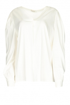 JC Sophie |  Blouse with playfully buttoned cuffs Aukje | white