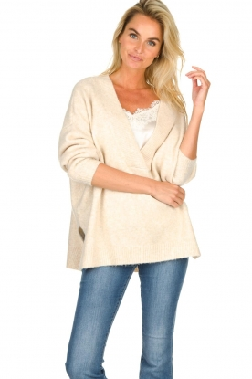 JC Sophie |  Knitted sweater with deep V-neck Amberlie | beige
