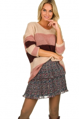 Be Pure | Knitted stripe sweater Tamara | nude