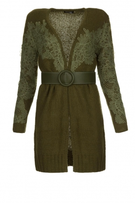 Fracomina |  Knitted cardigan with lace details Daniel | green