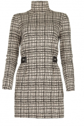 Patrizia Pepe |  Houndstrooth printed dress Benedict | beige