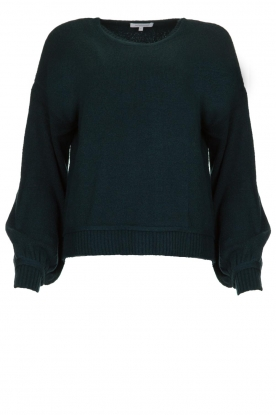 Patrizia Pepe |  Knitted sweater with puff sleeves Daphne | blue