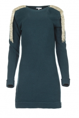 Patrizia Pepe |  Sweater dress with fringes Micky | blue