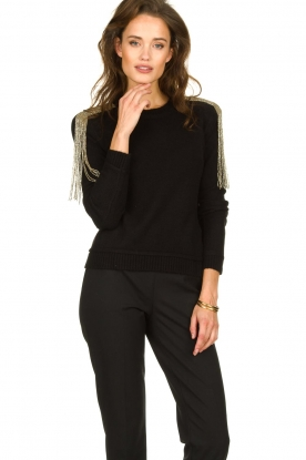 Patrizia Pepe |   Sweater with beaded decoration Emma | black