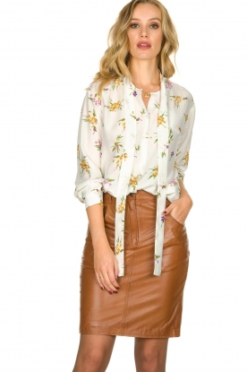 Patrizia Pepe |  Silk blouse with floral print Aaliyah | white