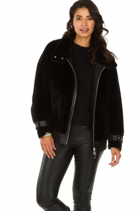 Patrizia Pepe |  Reversible faux lammy coat Nicole | black