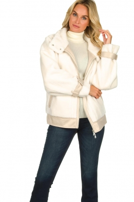 Patrizia Pepe |  Reversible faux lammy coat Nicole | natural