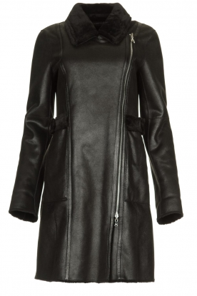 Patrizia Pepe |  Reversible faux lammy coat Eva | black