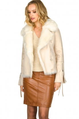 Patrizia Pepe |  Faux lammy coat Priscilla | natural