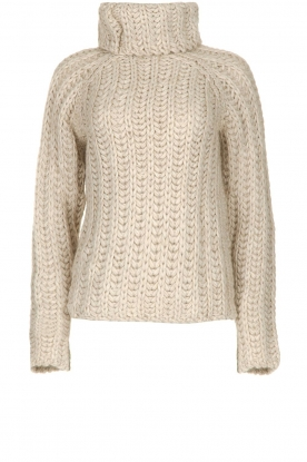 Blaumax |  Turtle neck sweater with cable knit pattern Tia | beige