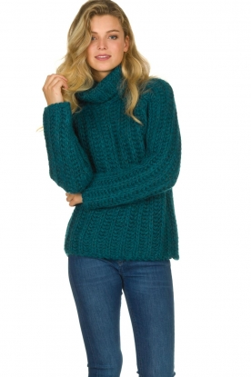 Blaumax |  Sweater with heavy knitted pattern Tia | blue
