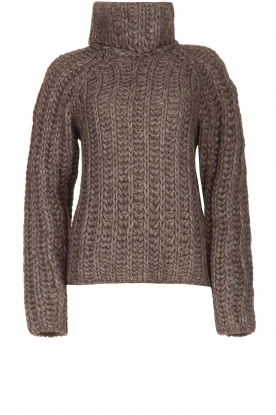 Blaumax |  Cable sweater Tia | brown