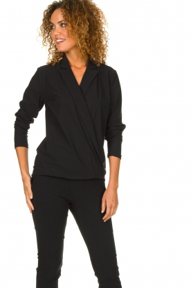 D-ETOILES CASIOPE | Wrinkle-free stretch blouse Sangria | black