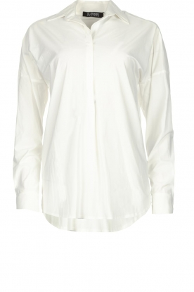 D-ETOILES CASIOPE |  Wrinkle-free stretch blouse Sauvage | white