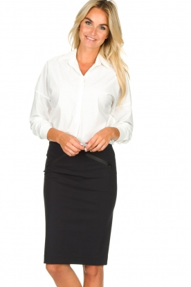 D-ETOILES CASIOPE |  Wrinkle-free stretch skirt Sharita | black