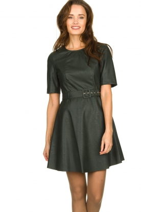 Kocca | Faux leather dress Nidra | green