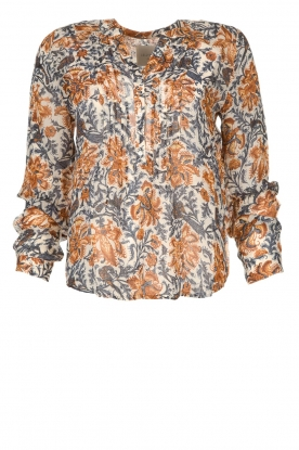 Lolly's Laundry |  Printed blouse Helena | brown
