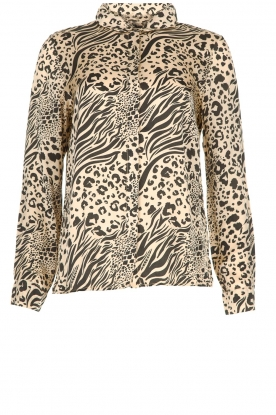 Aaiko |  Animal print blouse Marta | nude