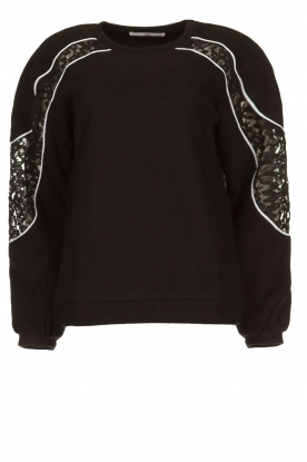 Aaiko |  Sweater with lace details Savana | black