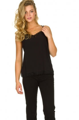 Aaiko |  Sleeveless top with lace Vlint | black