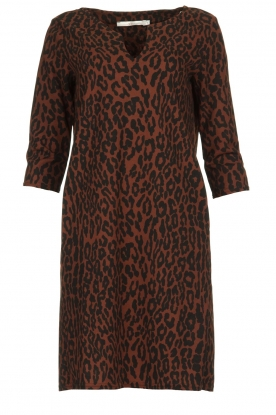 Aaiko |  Dress with panther print Mazaron | rust brown