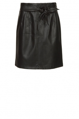 Aaiko |  Faux leather skirt with belt Patia | black