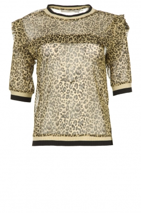 Aaiko |  Leopard print top with lurex Inea | gold