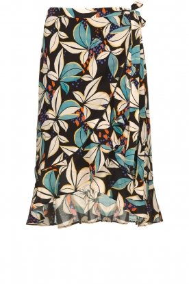 Aaiko |  Floral wrap skirt Chen | blue