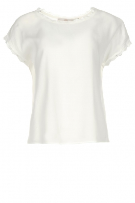 Aaiko |  Top with lace trimming Merle | white