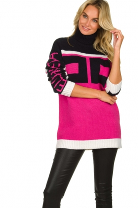 ELISABETTA FRANCHI |  Turtleneck sweater with logo print Eliza | pink