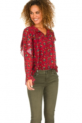 Fracomina |  Floral blouse with ruffles Fenne | red