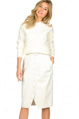 Fracomina |  Sweater with pearls  | white