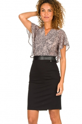 Fracomina |  Dress with leopard print Isa | black