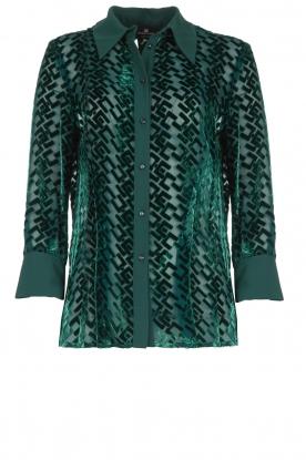 ELISABETTA FRANCHI |  Blouse with velvet logo print Jona | green