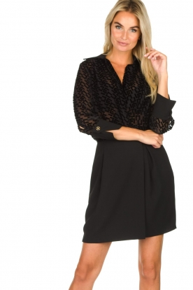 ELISABETTA FRANCHI |  Dress with velvet logo print Vaughn | black