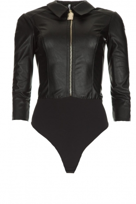 ELISABETTA FRANCHI |  Faux leather body top with zipper Zoella | black